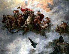 "The Ride of the Valkyries by William T. Maud, 19th c. British artist. One tradition links the Northern Lights with the sunlight glinting on the shields of the Valkyries. They were the servants of Odin who took brave warriors from the battlefield to Valhalla to await the final apocalyptic battle.  ©Mona Evans, ""Tales of the Northern Lights"" http://www.bellaonline.com/articles/art2161.asp"