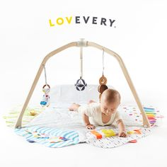 Vision is the main way babies get information in the first year, but it's also important to encourage the sense of touch (like we do with the How Things Feel zone of They Play Gym by Lovevery). #theplaygym