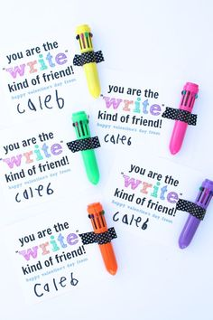 """These non-mushy, candy-free """"You are the 'Write' Kind of Friend"""" Shuttle Pen Valentines are perfect for preschoolers and school-aged children."""
