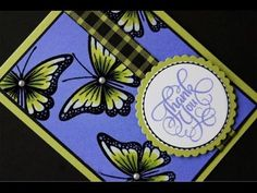 Glowing Butterflies - YouTube.  Wet emboss, paint with bleach, color ribbon and butterflies with alcohol marker. embellish with pearls.