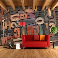 High quality 3D stereoscopic wood alphabet wall paper