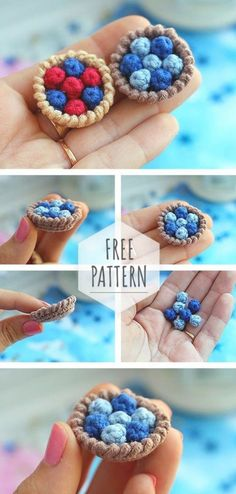 Crochet Cake, Crochet Fruit, Crochet Food, Crochet Crafts, Crochet Projects, Crochet Amigurumi Free Patterns, Crochet Animal Patterns, Crochet Dolls, Crochet Stitches