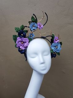 Millinery By Mel Lilac Fascinator, Fascinator Headband, Floral Headdress, Head Jewelry, Millinery Hats, Fancy Hats, Leather Flowers, Wire Crafts, Handmade Accessories