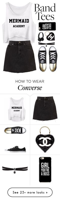 """""""Band Tees"""" by we-live-we-love on Polyvore featuring Converse, Master & Dynamic, Caso, Chanel, Fallon and bandtees"""