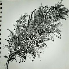 zentangle feather patterns step by step ...