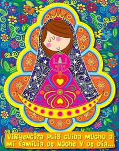 ".por fis.......... Por Distroller, marca creada por Amparo ""Amparin"" Serrano. Princess Drawings, Girl Christening, Holy Mary, Blessed Virgin Mary, Illustration Girl, Blessed Mother, Sacred Art, Kirchen, Religious Art"
