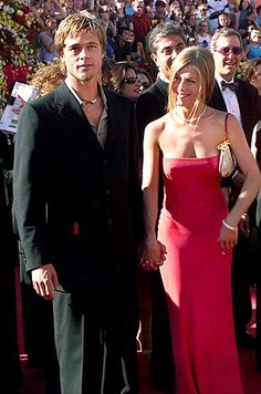 """Jennifer Aniston & Brad Pitt - September 2000 at the Emmy Awards in L. Jennifer Aniston ~ """"You know if there's ever an argument, it's not like you can go, 'Screw you, I'm outta here!' You're there for the long haul"""" Brad Pitt Jennifer Aniston, Brad Pitt And Jennifer, Celebrity Couples, Celebrity News, Celebrity Style, Jeniffer Aniston, Still Love Her, Rachel Green, Famous Couples"""