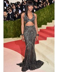 Gorgeous @iamnaomicampbell in a #CavalliCouture by @peter_dundas dress with crop top and high waisted train skirt in black silk lace allover embroidered with micro-beads and crystals. #MetGala #MetGala2016 #MetBall #ManusxMachina #PeterDundas #NaomiCampbell #CavalliCats #CavalliGirl #CavalliCrew