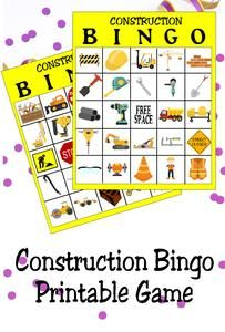 Enjoy a little fun at your Construction party with this printable Construction bingo game. Simply print and cut for a party game that your guests will love. #constructionparty #partygame #bingogame