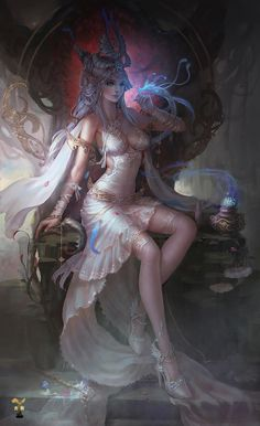 ~white dress elf throne magic creature illustration by gjschool