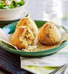 Arancini: Arancini is traditionally fried so we've upped the health quotient by baking these instead. Still full of flavour, the cheesy, rice-filled mouthfuls make ideal snacks or appetisers.