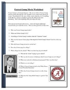 75 Question worksheet for the Movie Forrest Gump including additional research questions about the time period.