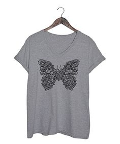 Love this Athletic Heather Floral Butterfly V-Neck Tee - Plus on #zulily! #zulilyfinds