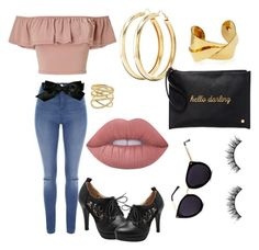"""""""black & gold accessories."""" by hearttbeatz ❤ liked on Polyvore featuring Miss Selfridge, Devon Leigh, Jane Norman, Chanel, Charlotte Russe, Lana, Deux Lux and Lime Crime"""