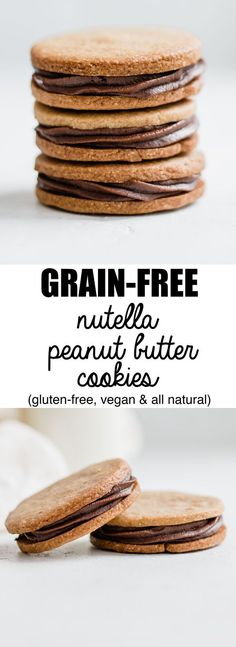 These grain-free nutella stuffed peanut butter cookies are healthy and made with all natural ingredients!