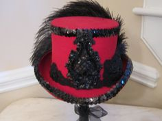 Red Top Hat Stevie Nicks Inspired  Black by MoonbeamEmporium