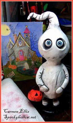 OOAK Grimmy ghost Halloween art doll by SpookyHollow on Etsy, $75.00