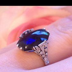 █ Art Deco Platinum Unheated Sapphire and Diamond Ring █ GIA Certificate   eBay