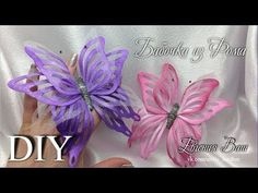 Бабочка Flying Butterfly Card, Quilling Butterfly, Butterfly Crafts, Butterfly Flowers, Flower Crafts, Diy Flowers, Fabric Flowers, Dyi Crafts, Ribbon Crafts