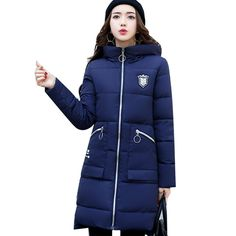QIMAGE 2017 New Women Winter Coat Warm Woman Parkas Overcoat High Quality Hooded Parka Slim Long Cotton-padded Parkas #Affiliate