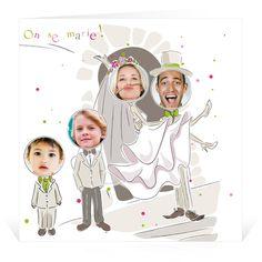 Faire-part de mariage Vive les Mariés 2 Garçons - Cardissime - Vous avez deux garçons ? Ce faire-part de mariage est fait pour vous ! Insérez leurs photos ainsi que les vôtres et personnalisez le texte. Vous voici avec un faire-part amusant et original ! Existe en différentes versions selon les familles !