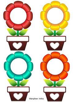 Preschool Flowers Class Name Badges - Preschool Children Akctivitiys Classroom Labels, Classroom Rules, Classroom Displays, Classroom Decor, Class Decoration, School Decorations, Classroom Birthday, Boarders And Frames, Page Borders Design