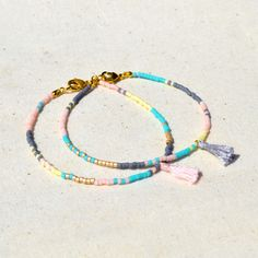 Multicolor Tassel Bracelets  Pastel by Kurafuchi on Etsy, $12.50