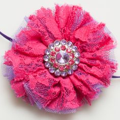Elegant Tutu Flower Skinny Elastic Headband. Perfect for baby photo shoot. Can be sized for newborn, baby and older girl. Purple Hot Pink