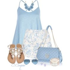Light Blue & White Summer Outfit