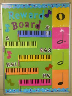 Music reward board for elementary music classes! Found this idea from another pinner and loved it, just modified it for my room and colors!