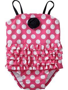 Ruffled Polka-Dot Swimsuits for Baby