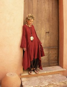 clothesRaw silk tunic dark red color -:- AMALTHEE CREATIONS -:-