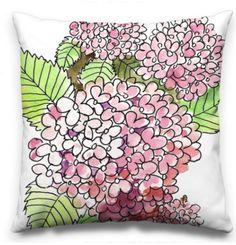 Hydrangeas are like fragrant snowballs. Art Desk, Snowball, Hydrangeas, Pillow Design, Surface Design, Florals, My Arts, Jar, Pillows