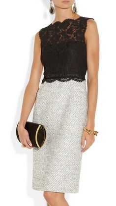 Valentino Black Belted Lace and Tweed Dress #ScoreSense Interesting combination