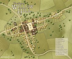 The Village of Willow Hill : Dungeons_and_Dragons Fantasy City Map, Fantasy World Map, Fantasy Places, Fantasy Map Maker, Minecraft Medieval Village, Pathfinder Maps, Village Map, Rpg Map, City Layout
