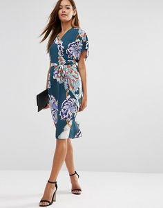 Image 4 ofASOS Floral Obi Wrap Dress