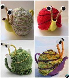 #Knit Snail Tea Cozy Pattern-20 Crochet Knit Tea Cozy Free Patterns  #Kitchen