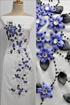 الجديد فى فن التطريز على الملابس بشرائط الساتان و العقيق روعة New in the art of embroidery on the clothes with ribbons and satin opal splendor