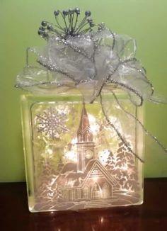 C Painted Glass Blocks, Decorative Glass Blocks, Lighted Glass Blocks, Christmas Glass Blocks, Noel Christmas, Christmas Signs, Christmas Boxes, Christmas Kitchen, Christmas Ideas