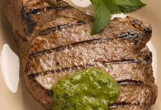 Grilled Veal Chops with Cilantro-Mint Chimichurri - Veal Made Easy  *For recipe, visit: http://vealmadeeasy.com/recipes/grilled-veal-chops-with-cilantro-mint-chimichurri/