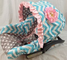 Infant Car Seat Cover, Baby Car Seat Cover including matching neck strap set Chevron  Grey Dot on Etsy, $114.00