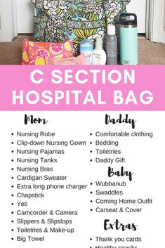 I had my c section hospital bag packed and by the garage door with dad's bag, baby bag, and bedding around 36 weeks pregnant. I put together a pdf checklist of everything I used that helped me and must haves to help a new mom Source by healthylittlemama Packing Hospital Bag, Hospital Bag Essentials, Hospital Bag Checklist, Hospital Bag C Section, Hospital Bag For Mom To Be, Daddy Hospital Bag, Delivery Hospital Bag, Pregnancy Hospital Bag, Csection Hospital Bag
