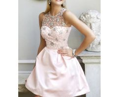 High Backless Beading Pink Short Prom dress, 2014 Ball Gown,Mini Party Dress