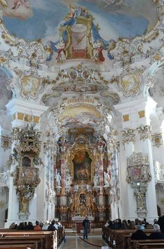 The Wieskirche, or the Wies Pilgrimage Church of the Scourged Saviour, is a masterpiece of Rococo design in Bavaria.