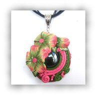 Polymer Clay Sculpted Flower Pendant with Glass Nugget