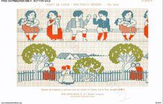 D.M.C. Point de Croix Nouveaux Dessins 2me Série, page 22, c. 1905. More stunning art nouveau and Provençale charted cross-stitch designs. Large patterns, children
