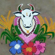 Maat Pongal Rangoli Easy Rangoli Designs Videos, Rangoli Designs Latest, Rangoli Designs Flower, Small Rangoli Design, Rangoli Ideas, Rangoli Designs Diwali, Rangoli Designs Images, Rangoli Designs With Dots, Kolam Rangoli