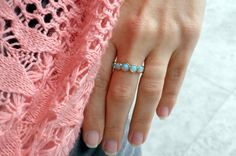 Blue Opal Ring  14k Yellow Gold plated Over Brass by ToledoJewelry
