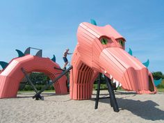 This dragon slithers through the sand in Mulighedernes Park in Aalborg, Denmark.