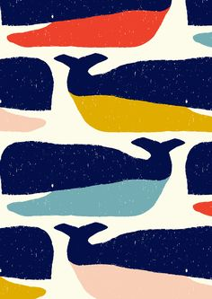 pattern by Minakani #whales #sea #ocean #smile #tail #dewlap #minakani